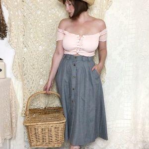 Vintage   grey full midi skirt